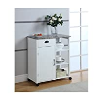 King's Brand White Finish Wood and Marble Vinyl Top Kitchen Storage Cabinet Cart