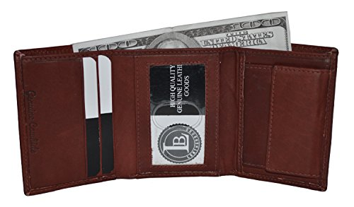 Boys Slim Compact Id and Coin Pocket Bifold Wallet Burgundy