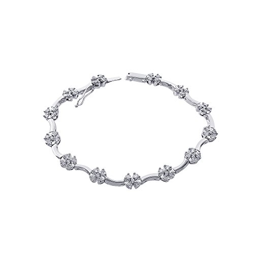 1.75 Carat Diamond Cluster Flower Bracelet 14K White Gold - Diamond Cluster Flower Bracelet
