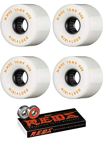 (Mini Logo 59mm ATF A.W.O.L White Skateboard Wheels - 80a with Bones Bearings - 8mm Bones Reds Precision Skate Rated Skateboard Bearings (8) Pack - Bundle of 2)