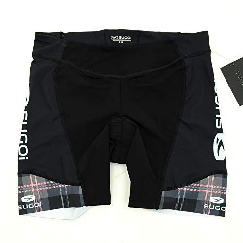 SUGOi Womens RS Tri Cycling Shorts Black/White/Pink Plaid XX-Large ()