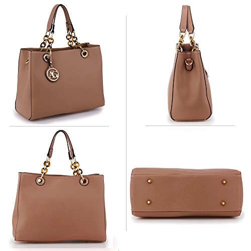 Womens Tote Shoulder Ladies Handbag Bag New Leather Nude Faux zzx1rFw