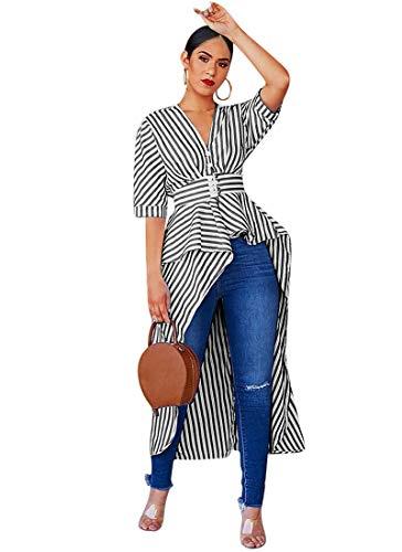 (ECHOINE Asymmetrical Tops for Women-Button Up High Waist Belted Ruffled Flare Uneven Hemline Casual Blouse Shirt Dress Black)