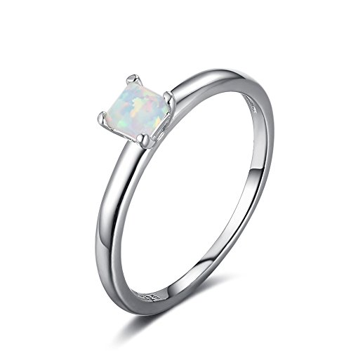 SILBERTALE Lab Created Princess Cut Opal Solitaire Engagement Ring 925 Sterling Silver Eternity Band Ring for Women Girls Size 7