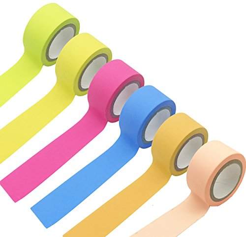 6 Rolls Washi Tape Set, 20mm Wide Decorative DIY Rainbow Sticker Masking Paper Tape,Festival Gift Wrapping Party Supplies(0.78inch x16.4ft )