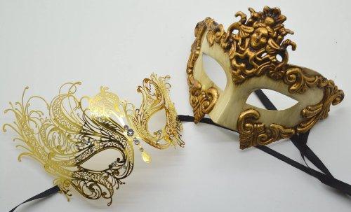 Roman Greek God and Goddess Set - His & Hers Luxury Phantom Masquerade Masks [Antique Gold Themed] - New Year's Eve, Mardi Gras Theater -