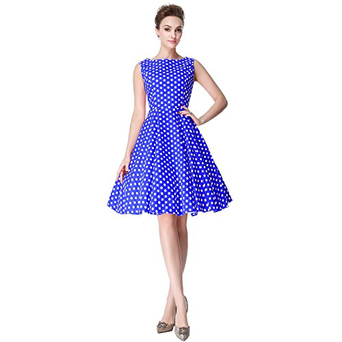 [Heroecol Womens Vintage 1950s Dresses Oblong Neck Sleeveless 50s 60s Style Retro Swing Cotton Dress Size XL Color Blue With White Polka] (1940s Dance Costumes)