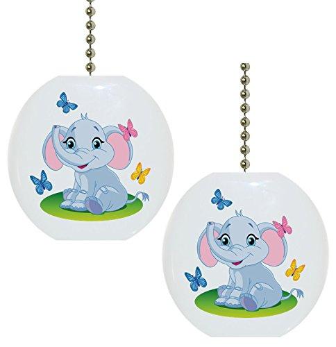Set of 2 Baby Elephant Butterflies Solid Ceramic Fan (Elephant Pulls)