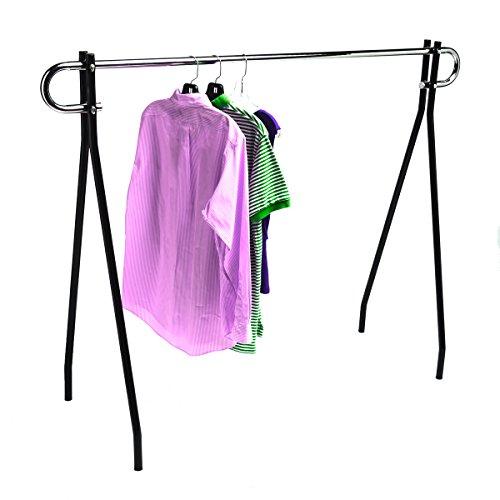 "Only Hangers - Economy Single Rail Garment Rack - Low Cost Single Bar Black Beauty Clothing Rack Display Fixture - 54"" Height x 60"" Lengt"
