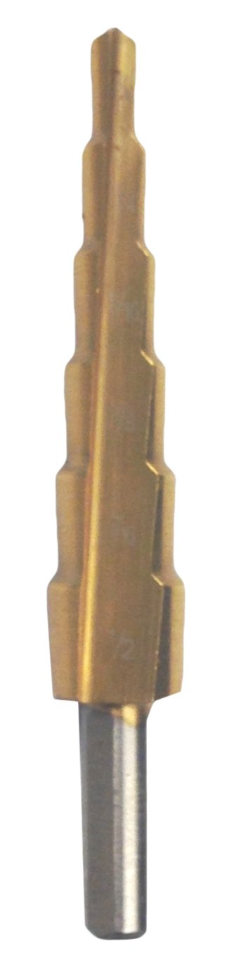 Tin Coated 3//16-1//2 x 1//16 Hole Range 1//4 Shank HHIP 5000-0501 High Speed Steel Step Drill with 6 Steps 3//8 Step Depth