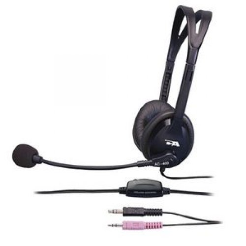 CYBER ACOUSTICS 7FT STEREO HEADSET W/ BOOM MIC CORD NOISE CA