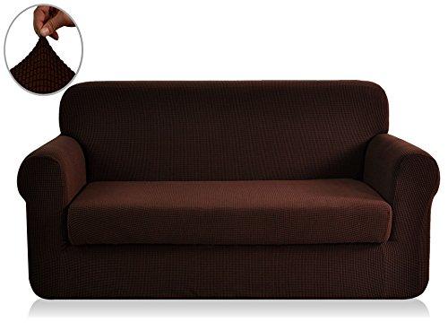 Chunyi 2-Piece Jacquard Polyester Spandex Sofa Slipcover (Loveseat, Chocolate)