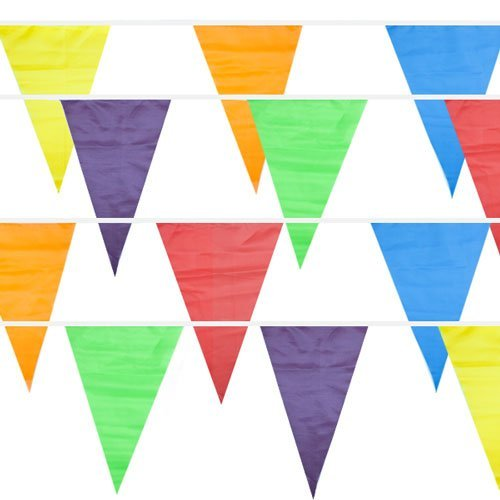 Play Kreative Colorful Pennant Flag Banner 100 ft - Multicolor Plastic Pennant Banner - Great for Party Decorations, Birthdays, Festivals - Weather (Weather Pennant Banner)