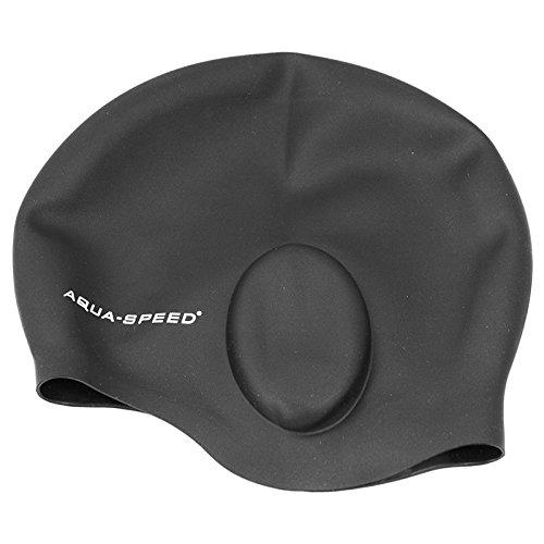 Aqua Speed EAR CAP Badekappe (100% Silikon Schwimmkappe Ohrentaschen Dehnbar Perfect Fit) Schwarz 07 SejzeI