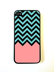 LJF phone case Coral Teal Black Chevron iphone 4/4s Case - For iphone 4/4s - Designer TPU Case V...