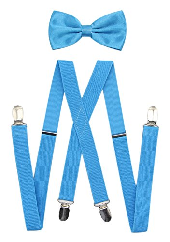 Blue Multi Color Tie (X Back Suspenders And Pre Tied Bow Tie Set For Men By JAIFEI: Multi Color, Adjustable Elastic Straps (Turquoise))