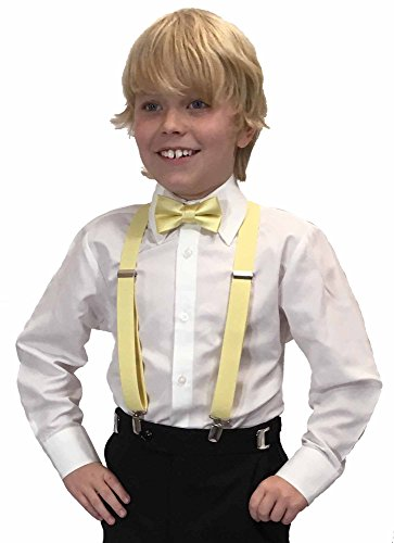 Spencer J's Boys X Back Suspenders & Bowtie Set Variety of Colors (Yellow) -