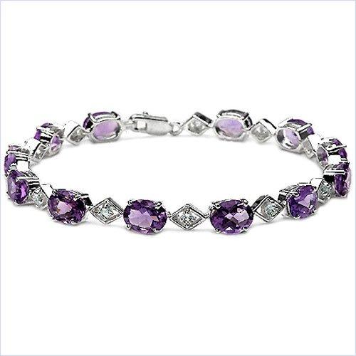 Bijoux Schmidt-Précieux-topaze bleue bracelet améthyste, argent rhodié 15 carats