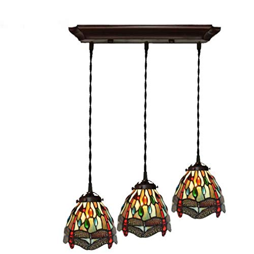 Tiffany Style Pendant Light Dragonfly, 7 Inch Stained Glass Shade 3-Headed Pendant Lamp Cord Metal Fitting Set, 110-240V Bulb Not Included/E27/E26×3