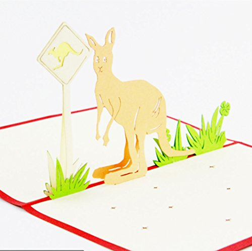 Kangaroo Fun blank 3D Pop Up Display Anniversary Cards Display Wedding Idea Birthday Boy DIY Girl Friend Good Luck Goodbye All Occasion Baby Greeting Cards Graduation halloween xmas thanksgiving