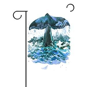 oprint ballena marea jardín banderas Vintage poliéster tela Lovely y resistente al moho Decoración para el hogar Custom de resistente al agua
