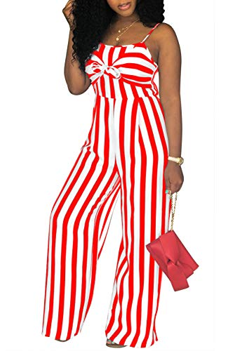 shekiss Womens Sexy Spaghetti Strap Striped Jumpsuits Tie Bowknot Loose Long Pants Casual Summer Rompers Red