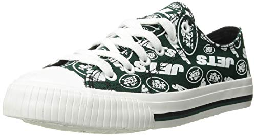 FOCO NFL Womens Low Top Repeat Print Canvas Shoe: New York Jets, Large