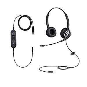 3.5mm to USB Computer PC Headset with Noise Cancelling Microphone 3.5mm Lightweight Two Ears Cell Phone Headphone…