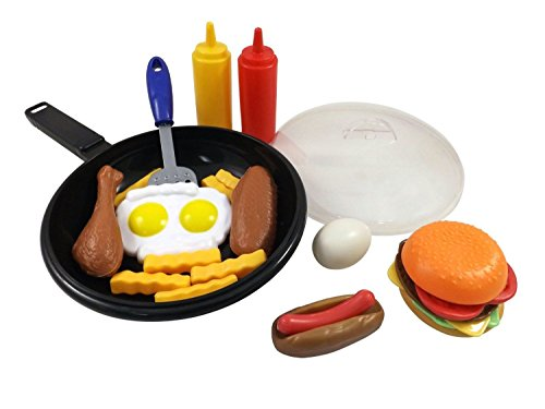 [25 Piece ^^ Liberty Imports Fast Food Cooking Pan Kitchen Play Food Set for Kids // Cheese Burger, Hotdog, Chicken, & more] (Liberty Bell Costumes)
