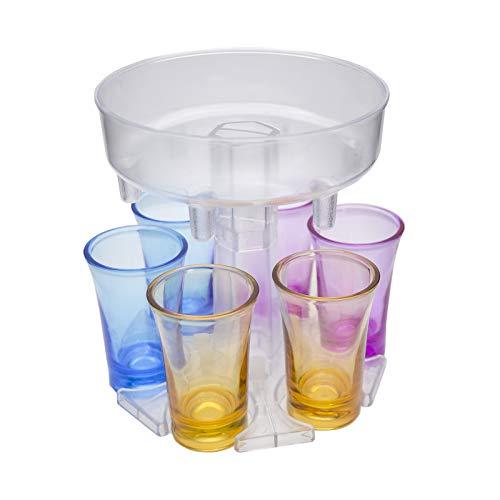 6 Shot Glass Dispenser And holder,Shots Dispenser Six Ways,Dispenser for Filling Liquids,Bar Shot,Cocktail Dispenser,Dispenser with Slogan,Drinking Games Wine Dispenser (transparent colourful cups)