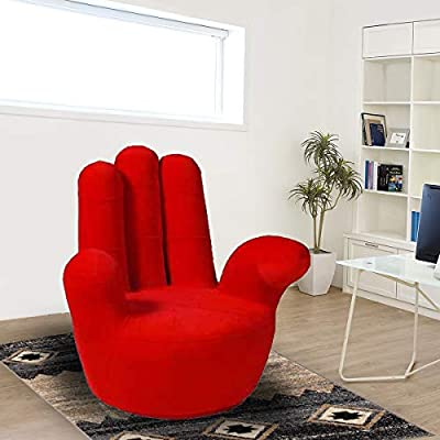 Hand-Shaped Rotating Sofa Chair, Red - H 101 cm x W 84 cm x ...