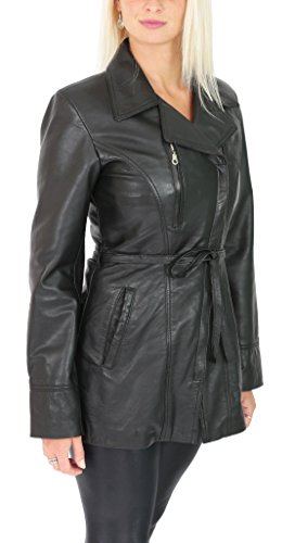 Womens Real Soft Leather Mid Length Jacket with Belt Slim Fit Aby Black (X-Large) ()