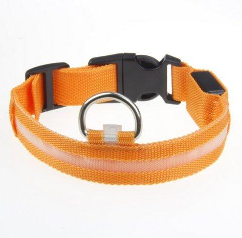 SUKRAGRAHA New Super Bright Nylon LED Dog Night Safety Collar Flashing Light up (Orange, L)