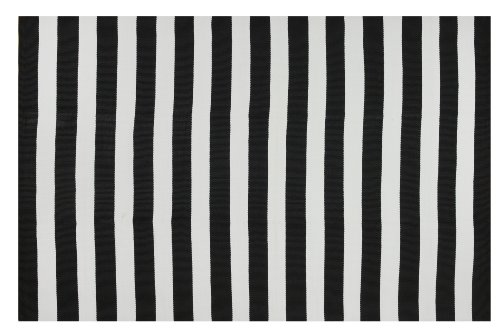 Fab Habitat Reversible PET Rugs - Handwoven | Indoor or Outdoor Use | Stain Resistant, Easy to Clean Weather Resistant | Nantucket - Black & White (2' x 3') ()