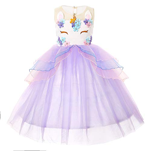Girls Unicorn Dress Birthday Party Princess Dresses for Little Girls Unicorn Tutu Costume Outfits purple1 150cm 9-10Y