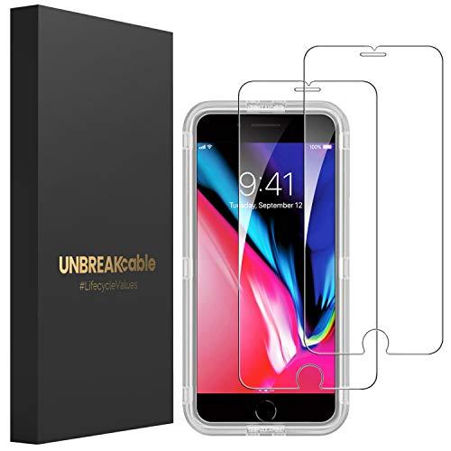 UNBREAKcable [2-Pezzi] Pellicola Vetro Temperato iPhone 8/7/6s/6 – HD 9H Durezza, Vetro Temprato Premium Doppia Difesa Serie per iPhone 8/7/6s/6 – [Anti-graffio, Anti-Impronta, Senza Bolle]
