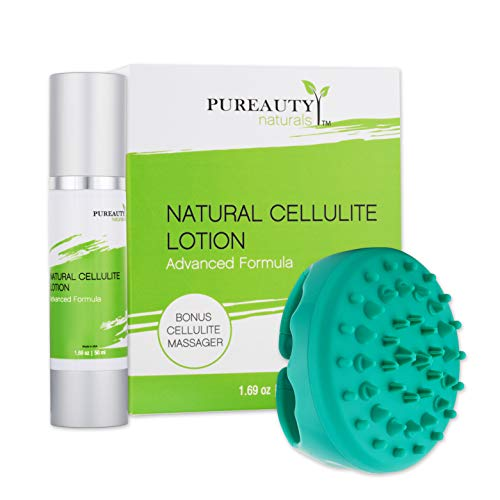 Cellulite Cream with Cellulite Massager - Anti Cellulite Body Lotion - Helps with Firming, Tightening and Healthier Looking Skin - Natural Essential Oils, Vitamin E - By Pureauty Naturals