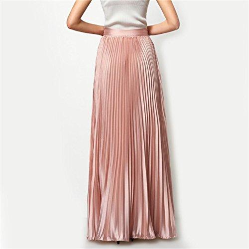 Dames Womens Taille lastique Maxi lgant Taille Hight Mode Plage De Designer Pliss Jupe Maxi Pink Jupe Automne q7wnT6vntX