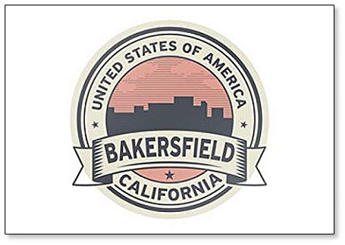 Label with Name of Bakersfield, California Fridge Magnet (Refrigerator Name Magnets)