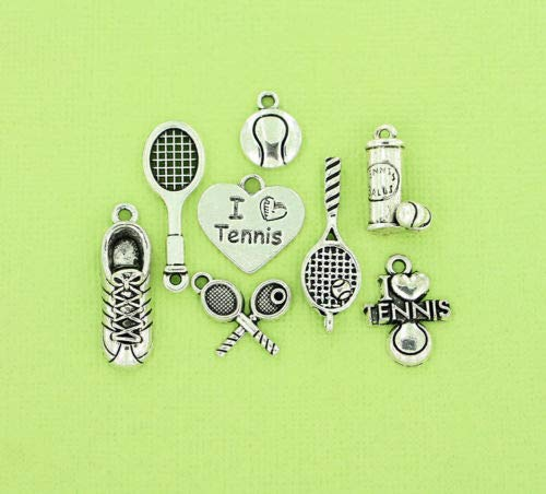 Jewelry Making Tennis Charm Collection Antique Silver Tone 8 Different Charms - COL086 Perfect for Pendants, Earrings, Zipper pulls, Bookmarks and Key Chains from Charms & Pendants Co.
