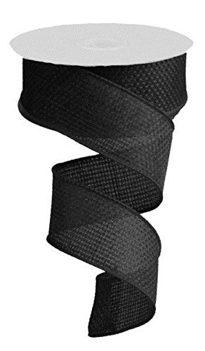Black Solid Cross Royal Burlap Wired Edge Ribbon - 1.5