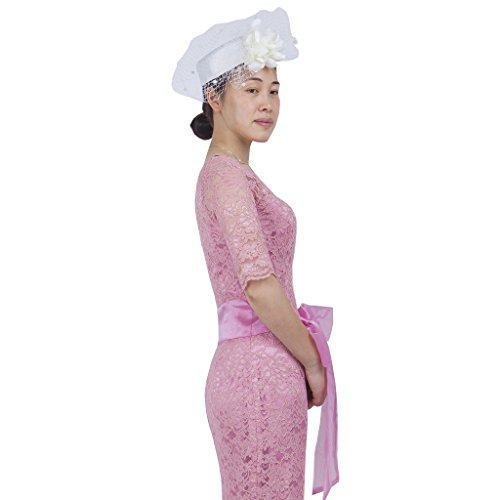 Janeo CHRISTABEL Fascinator: Classic Pillar Box Hat, Satin Fabric & Lace Petals with Net Veil Vintage Design in Six Colour options, Royal Blue, Black, Off White, Champaign, Red & Dusky -