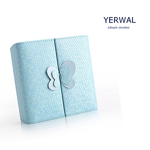 Yerwal Butterfly Travel Jewelry Display Storage Box / Earring Ring Case / Bracelet Organizer for Rings Earrings Necklace(Blue) (Butterfly Display Case compare prices)