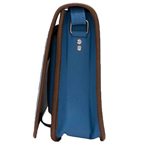 Koson pelle blu–Colonne–motivi tradizionale borsa in pelle con motivi stampati