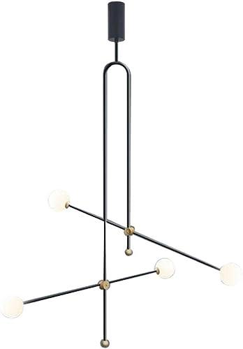 Modo Lighting Black Modern Chandelier 4 Light Mid Century Globe Glass Shade Hanging Light Fixtures for Bedroom Living Room