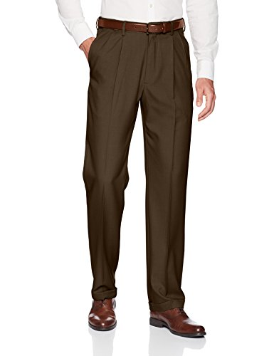 - Haggar Men's Premium Comfort Classic Fit Pleat Expandable Waist Pant, Dark Chocolate, 40Wx32L