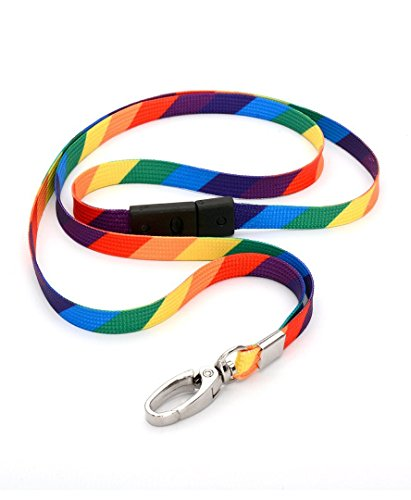 CKB Ltd 10x Breakaway RAINBOW Striped Premium Safety Lanyard Neck Strap Swivel Metal Clip For ID Card Holder Bright Fun Funky Novelty Cool Lanyards Mixed Multicolored - Pull Quick Release Design