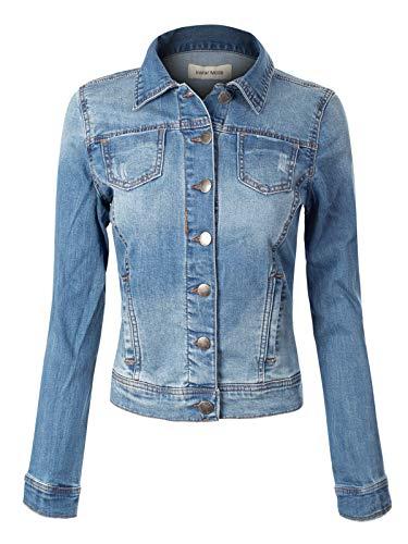 Design by Olivia Women's Classic Denim Jacket Medium Denim 3XL ()