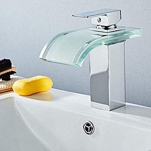 ZGQA-GQA 現代のソリッドBrasstapツェッペリン流域の蛇口の真鍮の滝の温度の色の変更浴室のミキサーのタップのデッキは、ウォッシュシンクガラスタップホットとコールドタップをマウントタップ ミキサーシンク用の浴室キッチン盆地タップ