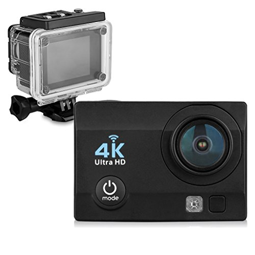 Floureon Q6 2.0 Inch 4K 16MP 170°WIFI 30M/98FT Waterproof Slow Motion Function Loop Recording Full HD DV Sports Camera (Black) Floureon
